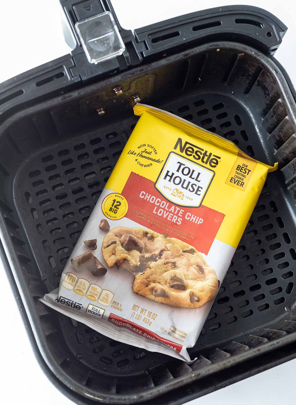 package of store bought cookie dough in air fryer basket