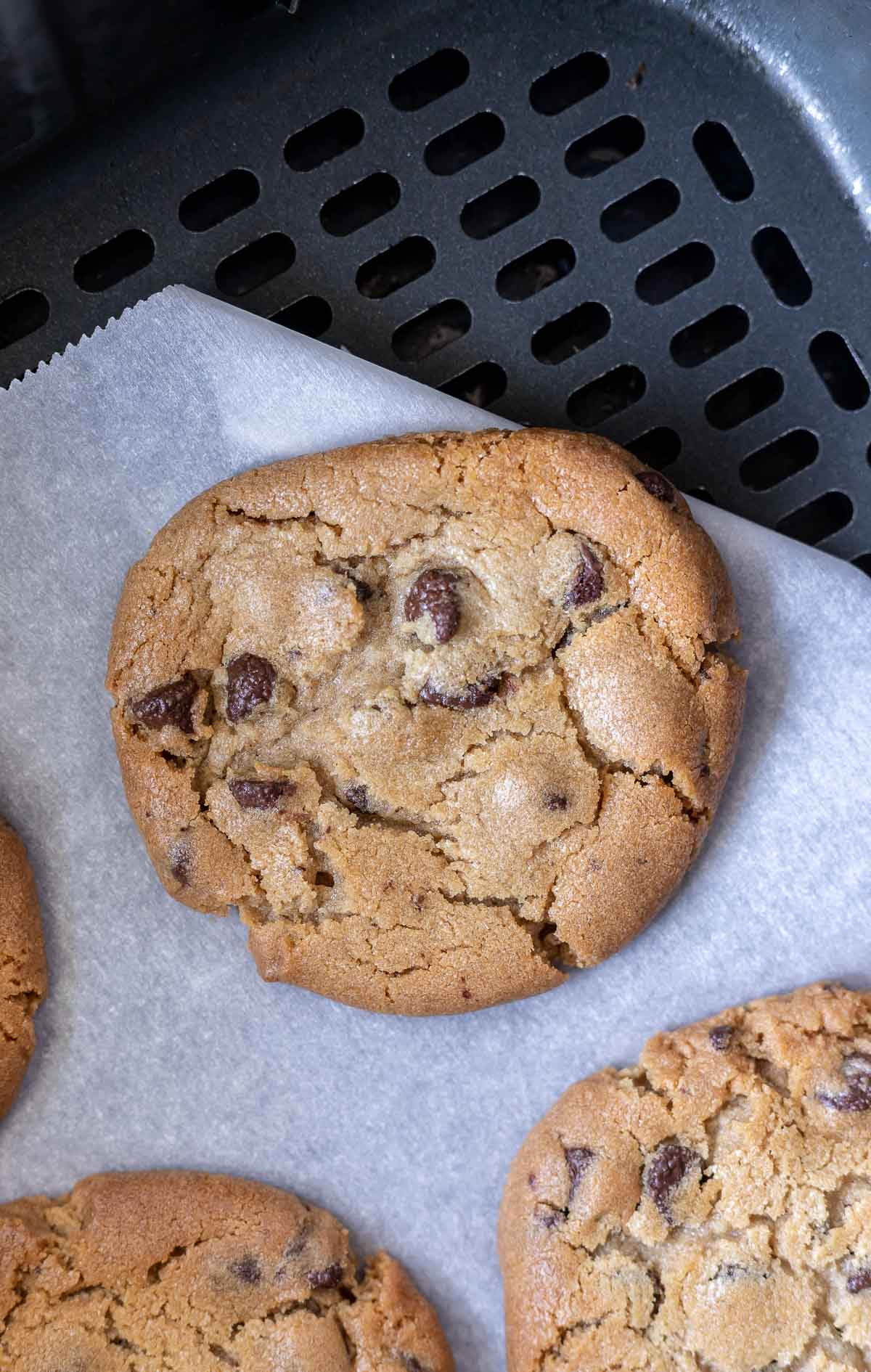 baked chocolate chip cookies in air fryer basket