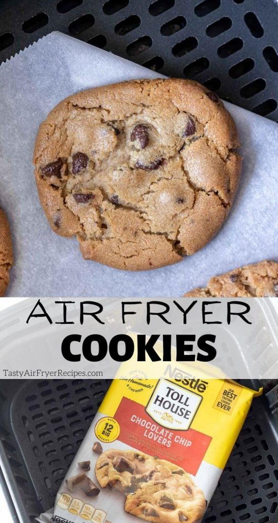 air fryer chocolate chip cookies pinnable image with title text