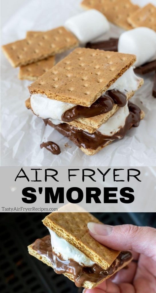 air fryer smores pinnable image with title text