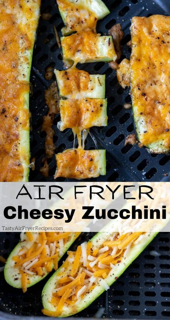 air fryer stuffed zucchini pinnable image with title text