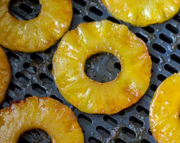 pineapple rings in air fryer basket