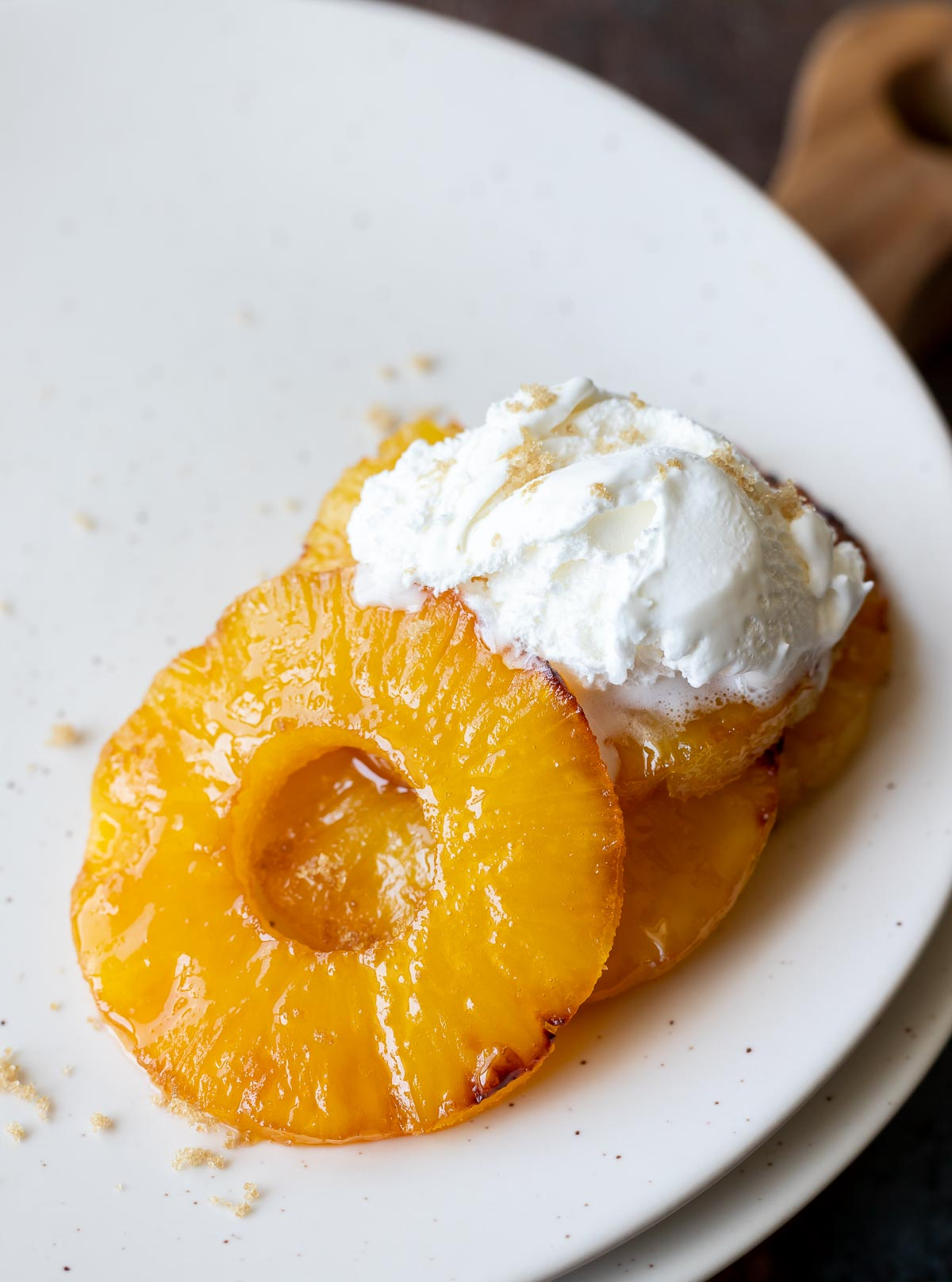 candied sugar pineapple topped whipped cream