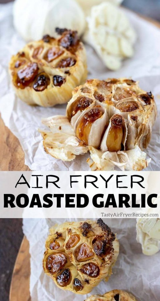 air fryer roasted garlic pinnable image with title text