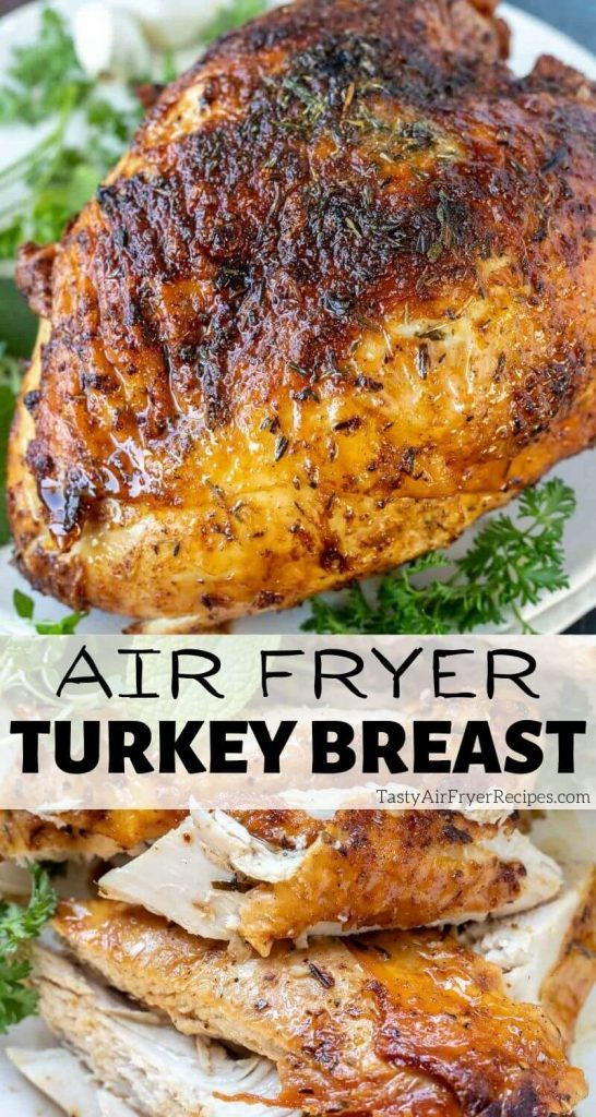air fryer turkey breast pinnable image with title text