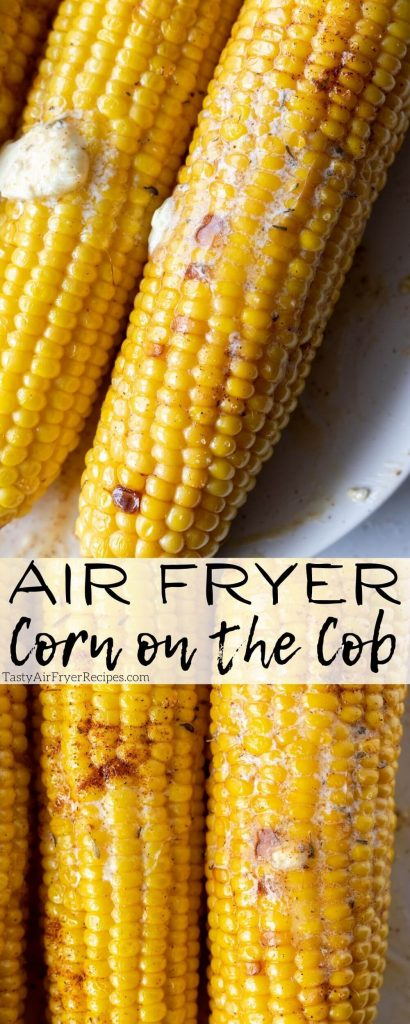 air fryer corn on the cob pinnable image with title text