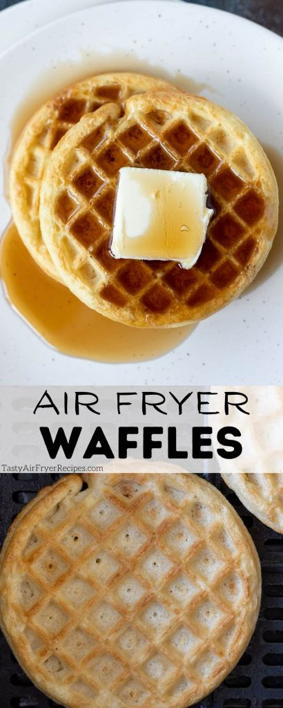frozen waffles in air fryer pinnable image with title text