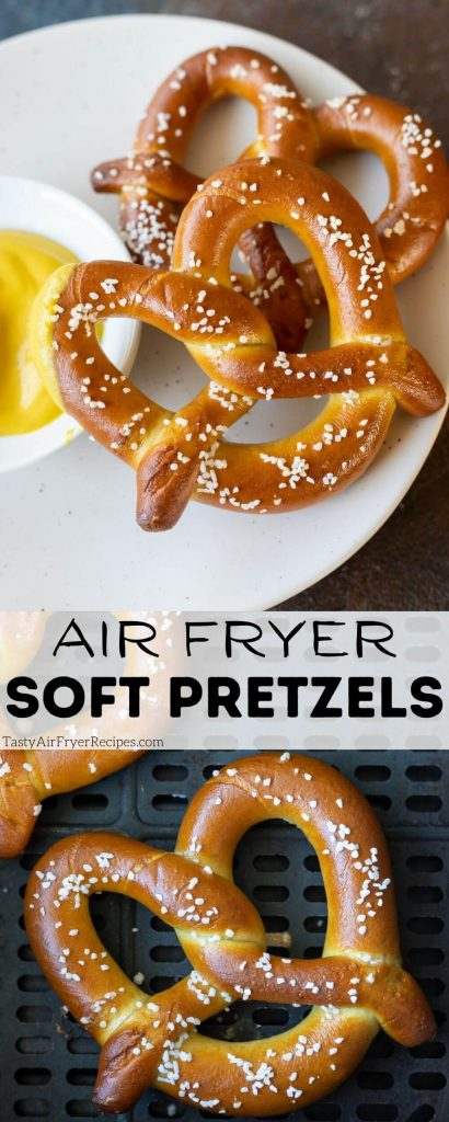 air fryer soft pretzels pinnable image with title text