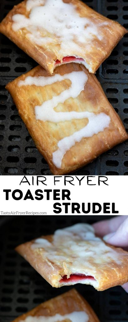 air fryer toaster strudel pinnable image with title text